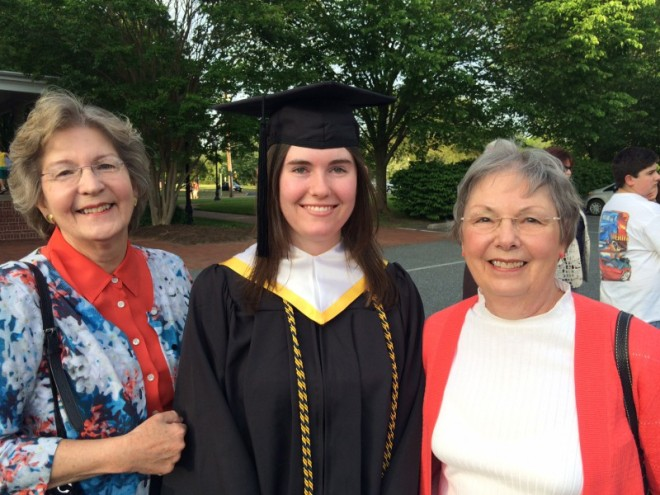 Julie with Aunt Helen and Aunt Gail.