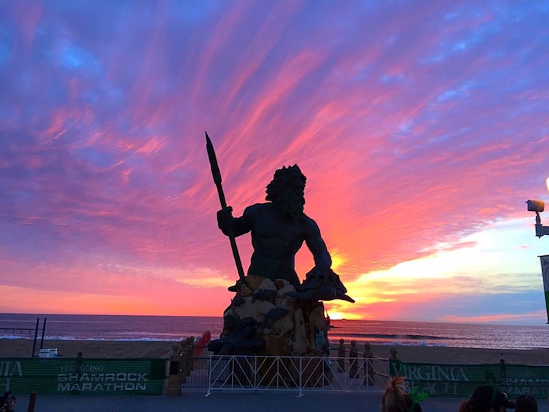 king neptune at sunrise